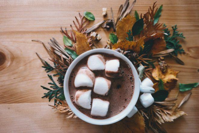 кофе с шоколадом и зефиром